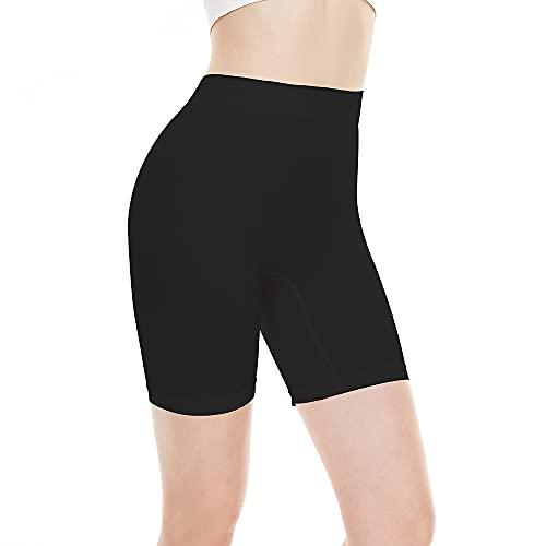BATHRINS Pantaloncini Sottogonna Antisfregamento Donna Cotone Leggings Corti Boxers Mutande Vita Alta Shorts Elasticizzati Morbidi Shorts Donna Sportivi(Nero,l)