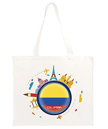 Typolitografie Ghisleri shopper boodschappentas 40 x 40 Colombiaanse reizen abstract vlag 50