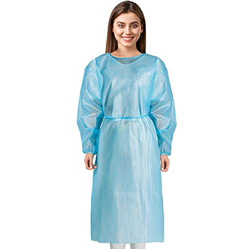 MEDICAL NATION 120 Pack PP + PE Disposable Isolation Gowns Blue with Elastic Cuff, Latex-Free, Non-Woven, Fluid Resistant, 45gsm Dental, Medical, Hospital, Industries, ONE Size FITS All (120)