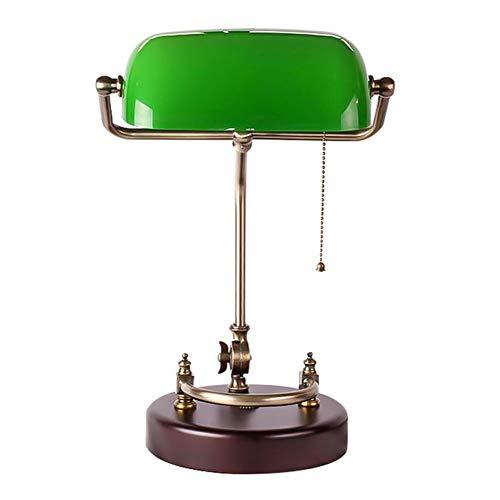 Lámpara de escritorio de madera vintage de alta calidad, lámpara de mesa retro antigua nostálgica, lámpara de banquero, lámpara de noche,lámpara de mesa(Size:Push Button Switch)
