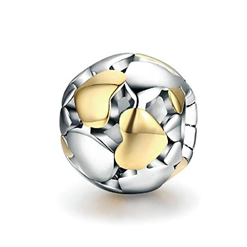 FeatherWish Abalorio de plata de ley 925 con diseño de corazones de oro y chapado en oro compatible con pulsera Pandora, Plata esterlina, Cubic Zirconia,