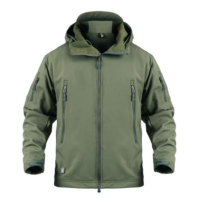 Men's Outdoor Waterproof Soft Shell Hooded Military Tactical Jacket Multi Pockets Fleece, with Foldaway Hood (Green,L)