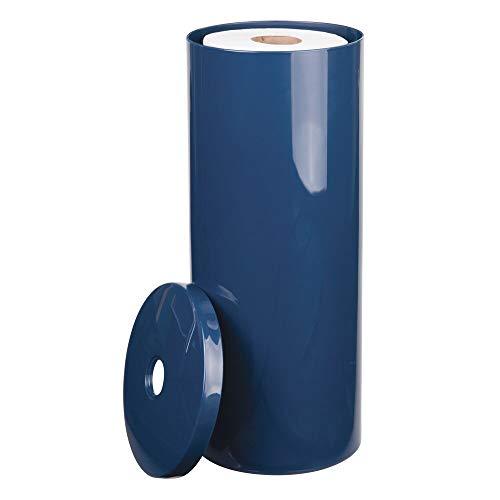 mDesign Toilettenpapierhalter stehend - eleganter Klopapierhalter mit Deckel für bis zu 3 Rollen - Toilettenrollenhalter aus marineblauem Kunststoff - ideal für kleine Räume