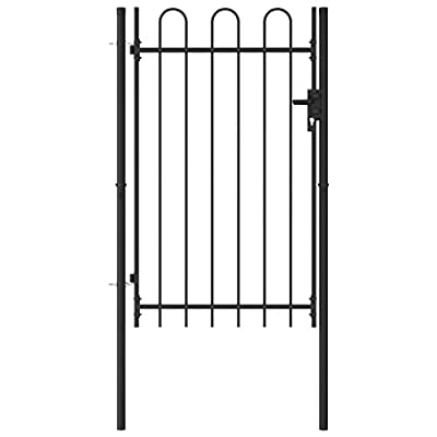 "WWZH Black Steel Anti-Rust Fence Gate Single Door Arched Top Steel Easy Installation Kit, for Residential,Outdoor,Yard,Patio Entry Way?4""x59.1"""