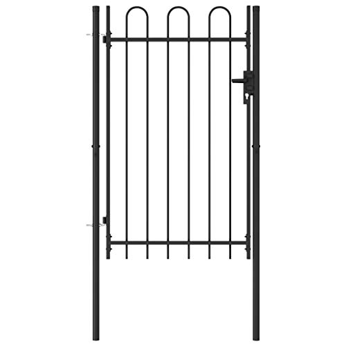 vidaXL Fence Gate Double Door with Arched Top Steel, Decorative Garden Fence Outdoor,Metal Fence Panels, Animal Barrier, Patio Flower Bed Border Wire Fencing Rustproof,39.4'x59.1' Black