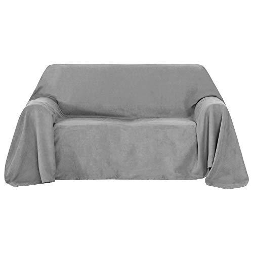 UMI. by Amazon Sofabezug Sofa Überwurf Sessel Bezug Wildleder Optik 210x280 cm Hellgrau