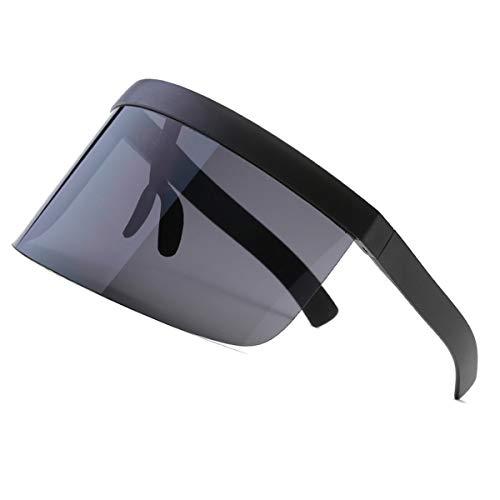 CLISPEED Oversize Occhiali da Sole Futuristic Shield Visor Flat Top Mirrored Unisex Protezione Solare Antivento per Uomini Donne Sport all'Aria Aperta (Nero)