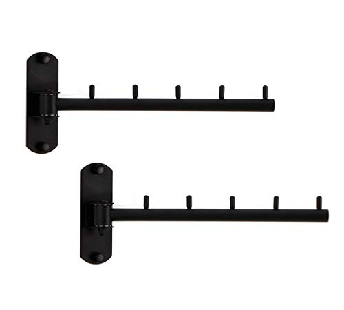 Folding Wall Mounted Clothes Hanger Rack Wall Clothes Hanger Stainless Steel Swing Arm Wall Mount Clothes Rack Heavy Duty Drying Coat Hook Clothing Hanging System Closet Storage Organizer Black 2Pack