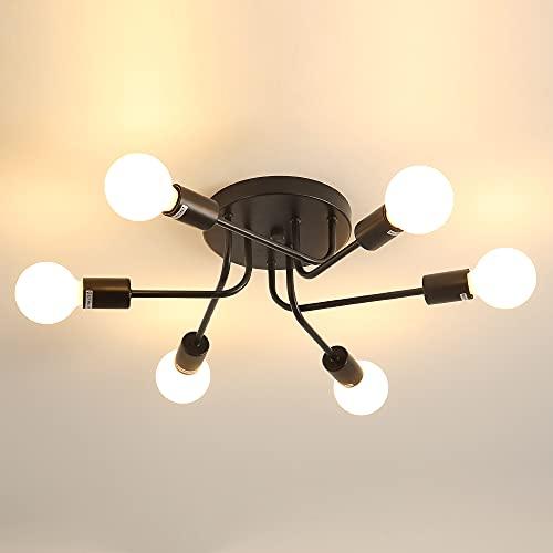 DAXGD Lámpara de techo industrial E27, lámpara de araña Sputnik de 6...