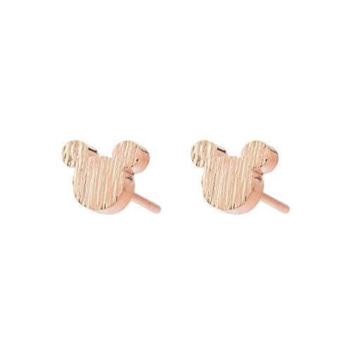 Pendientes Selia Diseño Mickey y Minnie Mouse/Aretes de Botón Para Mujeres y Niñas con Acabado Elegante y Aspecto de Cepillado
