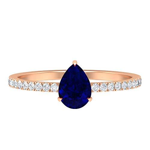 Anillo de compromiso de diamantes y zafiros azules de 1 ct, anillo de compromiso de diamantes HI-SI, anillo de corte de pera de 5 x 7 mm, 14K Oro rosa, Zafiro Azul, Size:EU 61