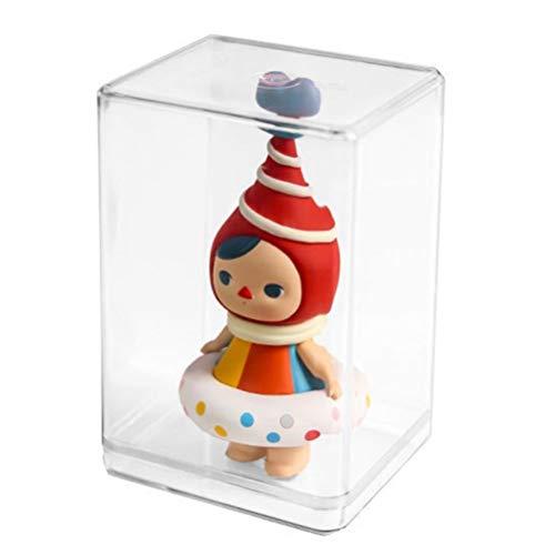 Hinder Expositor de acrílico transparente a prueba de polvo negro modelo base de juguete caja de exhibición de figuras de acción coleccionables encimera Box (S)