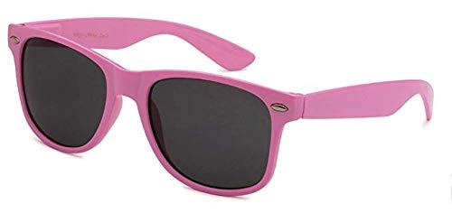 Boolavard® Nerd Sonnenbrille im Wayfarer Stil Retro Vintage Unisex Brille - 45 Modelle wählbar (Rose Pastell Tönung)