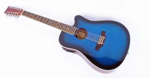 Cherrystone 4260180886177 12 saitige Western-Gitarre mit Tonabnehmer/EQ blueburst
