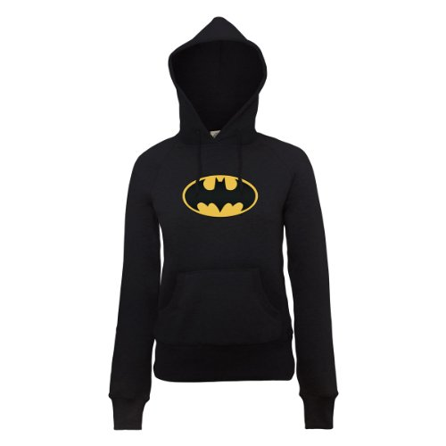 DC Comics Damen Official Batman Logo Womens Hooded Sweatshirt Kapuzenpullover, Schwarz - Schwarz, 42
