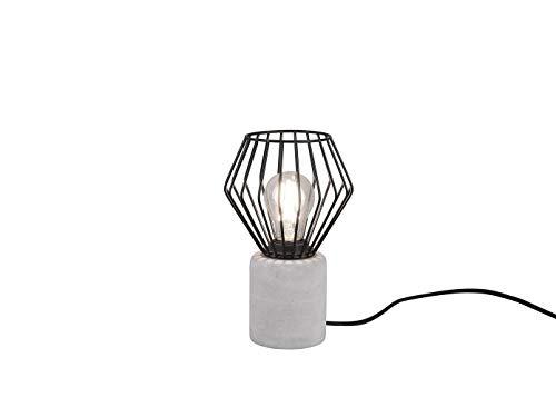 Angesagte Drahtkorb LED Tischleuchte im Industriedesign, Gitter Schwarz mit Betonfuß