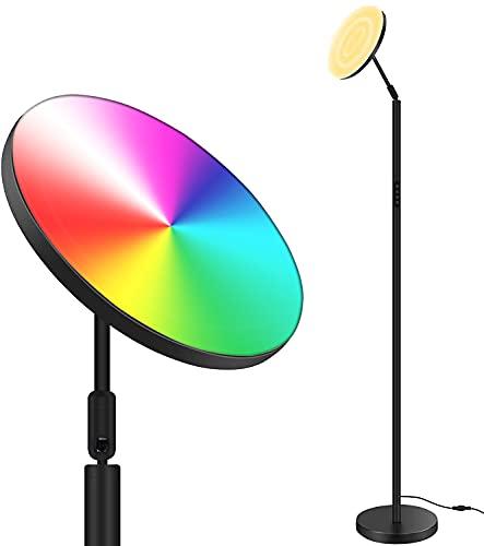 AnTing Lámpara de pie regulable LED, Giratoria, Control Táctil, RGB, 3 Temperaturas de Color, Minimalista, 25W, Lámpara Moderna para Dormitorio, Estudio y Oficina