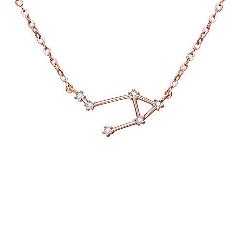 Collares Mujer - Clearine Serie de Constelación'Libra' Colgante Plata 925 Tono Oro Rosa Horóscopo Exclusivo para Regalo Boda Novia