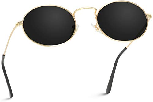 WearMe Pro - Small Oval Metal Frame Tinted Lens Sunglasses