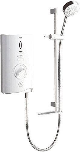 Mira Sport Max Electric Shower 10.8kW White & Chrome With 4 Spray Rub Clean Showerhead