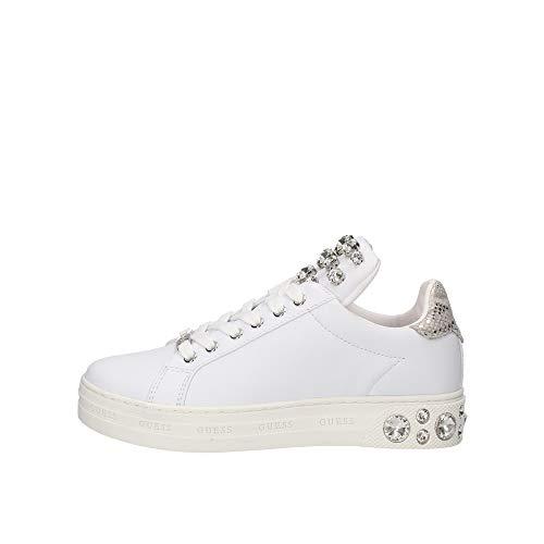 Guess Marey - Zapatillas deportivas para mujer con aplicaciones de joyas, color blanco, FL7MEYLEL12 Size: 35 EU