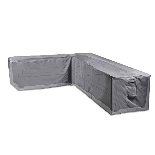 VonHaus Waterproof Garden L Shape Sofa Cover - 'The Storm Collection' Premium Heavy Duty Breathable Fabric Protection for Patio & Outdoor Furniture - Slate Grey