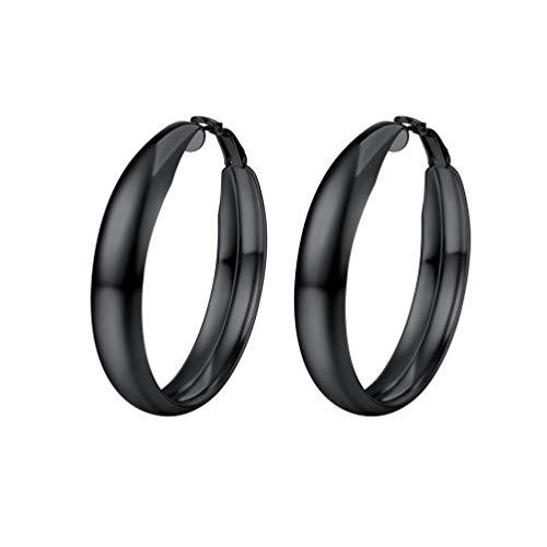 PROSTEEL Damen Ohrringe 40 mm Schwarz Creolen Huggie Hoop Ohrringe Glänzend Blatt Groß Ring Kreis Ohrringe Geschenk Jahrestag Muttertag Weihnachten Valentinstag