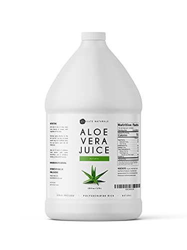 Aloe Vera Juice (128 oz - 1 Gallon) by Kate Naturals. Natural & Coldpressed. Made with Organic Aloe Vera Fillet. Liquid Supplement for Drinking (1 Gallon).