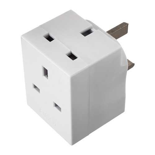 IKEA KOPPLA - enchufe adaptador de 3 vías, con toma de tierra blanca