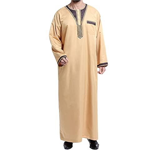 KKXY Muslim Robe Crew Neck Men's Shirts Long Sleeve Thobe Long Gown Loose Fit Sleepshirts Soft Casual Lightweigh Bathrobes(Size:L,Color:Beige)