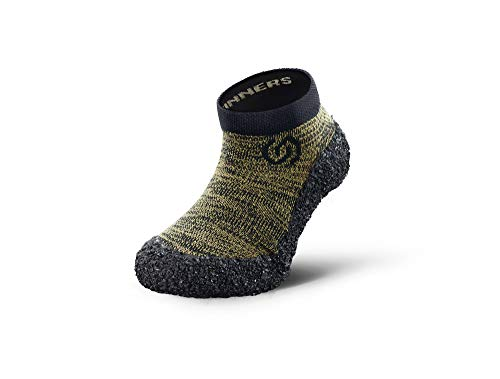 Skinners | Minimalistische Unisex Barfußschuhe für Kinder | Minimalist Barefoot Socks/Shoes | (Olivgrün (schwarzes Logo), Size 33-35)