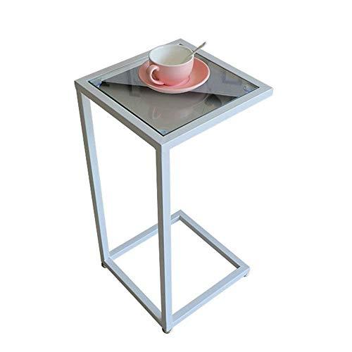 MYPNB Las Tablas Laterales Mesa Lateral de Vidrio Templado Escritorio del Ordenador portátil de Mesa de café portátil mesita de Noche, 15.7''x15.7''x27.5 '' (Blanco) de múltiples Funciones