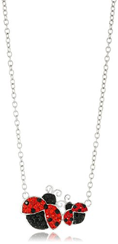 Silver-Plated You & Me Crystal Ladybugs Pendant Necklace, 18'