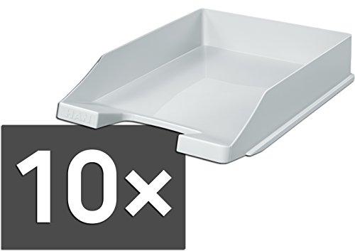 HAN 1027-X Briefablage KLASSIK, DIN A4/C4, stapelbar, stabil, modern (10er Set, lichtgrau)