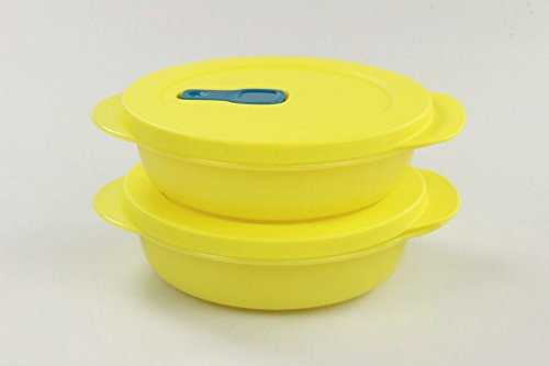 Tupperware CrystalWave 26469 - Microondas (400 ml, 2 Unidades), Color Amarillo