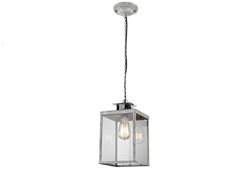 Rechthoekige hanglamp design grijs antiek, glazen ruiten helder, met filament-LED