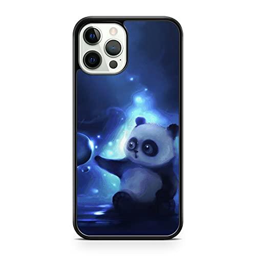 Cover per telefono con motivo a forma di panda e orsacchiotto, con motivo a stella blu (modello di telefono: compatibile con Apple iPhone 12)