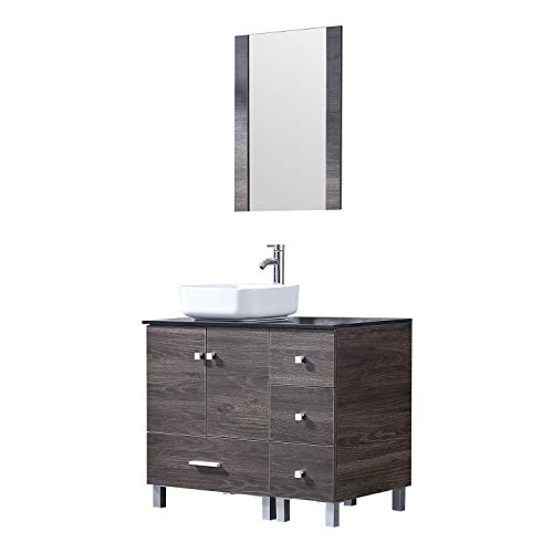 Sliverylake 36 inch Bathroom Vanity Combo Modern MDF Cabinet with Vanity Mirror Ceramic Porcelain Counter Top Vessel Sink Faucet and Pop Up Drain