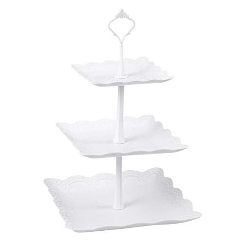 BESTONZON Three Tiers Cake Display Stand and Fruit Plate Party Serving...