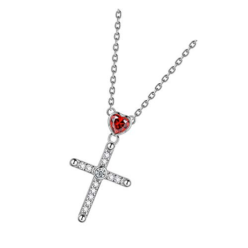 Cross Necklace 925 Sterling Silver Cubic Zirconia Heart Pendant Necklaces Heart Cross Design Suit For Any Ages