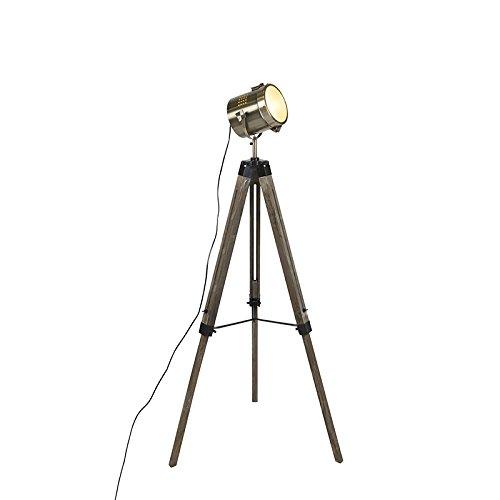QAZQA Lámpara de pie industrial trípode madera con spot estudio - Braha/Metálica Otros Adecuado para LED Max. 1 x 25 Watt