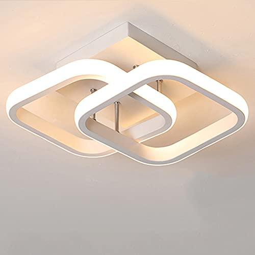 Plafonnier LED Conception Rectangulaire Simple Noir Blanc Plafonnier D'allée pour Cuisine Couloir Salon Chambres à Coucher Lumière Chaude 22W (White)
