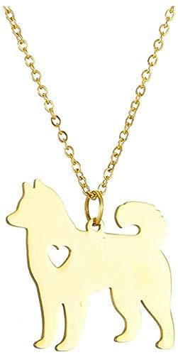 quanjiafu Halskette Schöne Akita Anhänger Halskette Edelstahl Personalisierte Haustier Hund Halskette Gold Silber Farbe Kettenhalsband Hachi Familie Haustier Anhänger