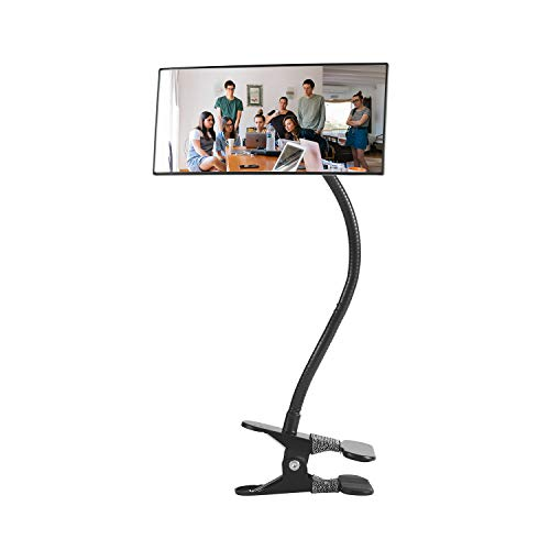"Clip On Security Mirror, Cubicle Computer Desk Convex Mirror for Office Personal Safety Rearview Monitors or Anywhere (7.28"" Rectangle Mirror with Border)"