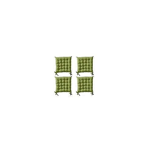 Lot de 4 Galettes de chaise à assise matelassée unie - Vert clair - 40x40x5cm - Today