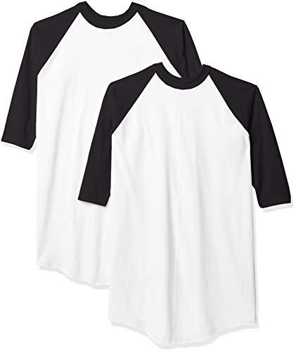 Soffe Men's Baseball Jersey T-Shirt, White/Black (2 Pack), Large