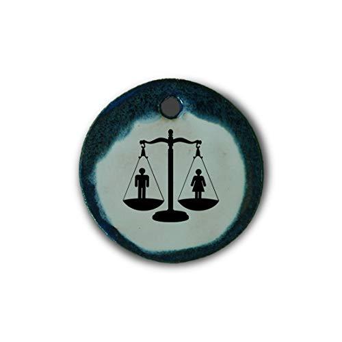 """Schöner Keramik-Anhänger """"Gleichberechtigung"""" in blau marmoriert; Schmuck Kette Kettenanhänger Geschenk Kunsthandwerk Keramik rund Talisman Amulett Mann"""