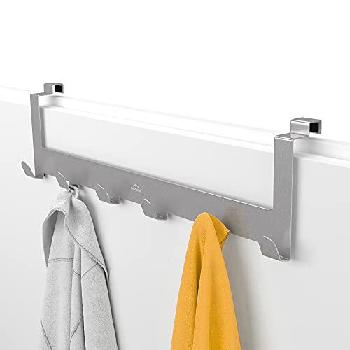 MDCASA Türgarderobe Rückseite Edelstahl - Hakenleiste Tür - Handtuchhalter Bad - Türhängeleiste - Türhakenleiste
