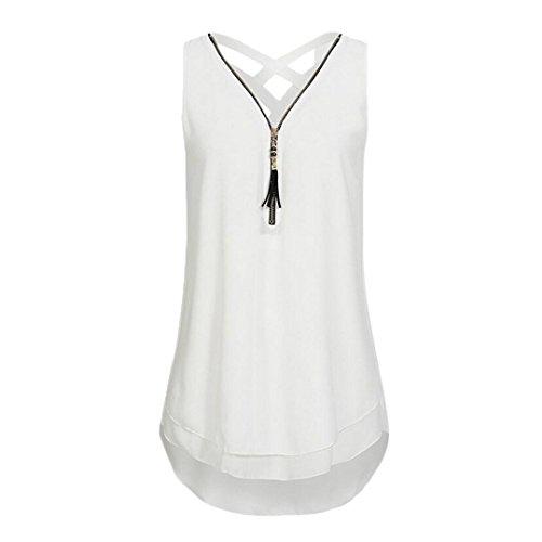 KIMODO T Shirt Kreuz-Rück Hem Blusen Tank Top mit Reißverschluss und V-Ausschnitt Damen Camisole Sommer Lose Freizeithemd Weste Große Größen