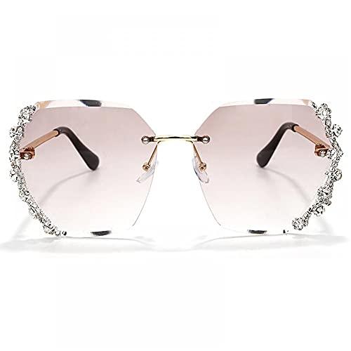 ZZOW Gafas de sol de mujer con diamantes de imitación sin montura Gafas de sol para mujer con diamante gradual tendencia